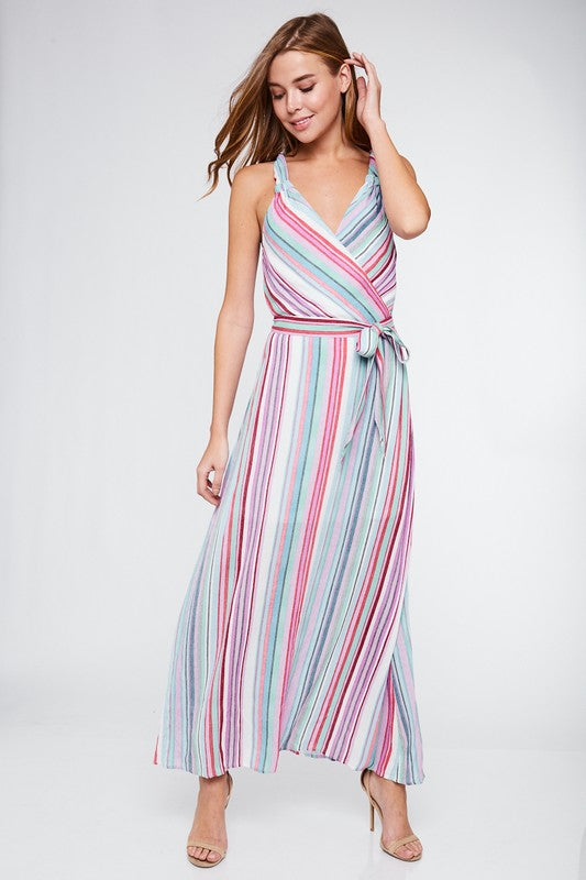 Twisted Strap Halter Neck Maxi Dress