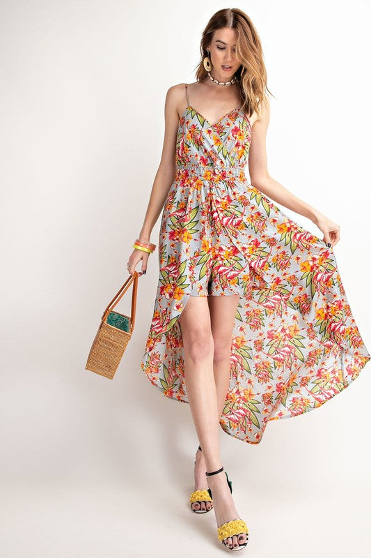 Spring Floral Print Shorts & Maxi Romper Dress