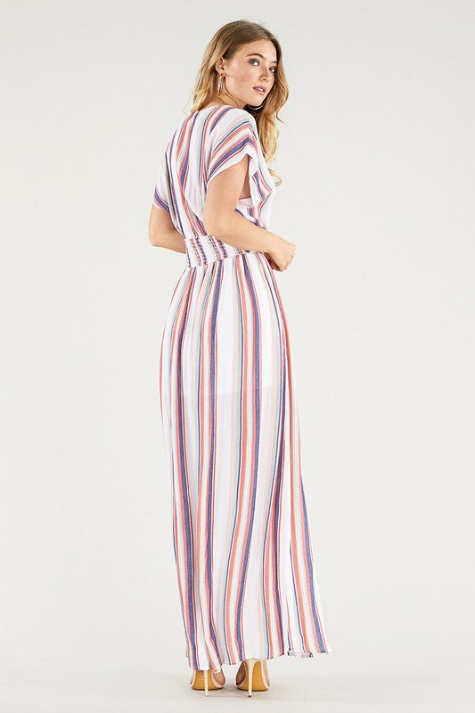 Smocked Waist V-Neck Striped Maxi Dress with Side Slits