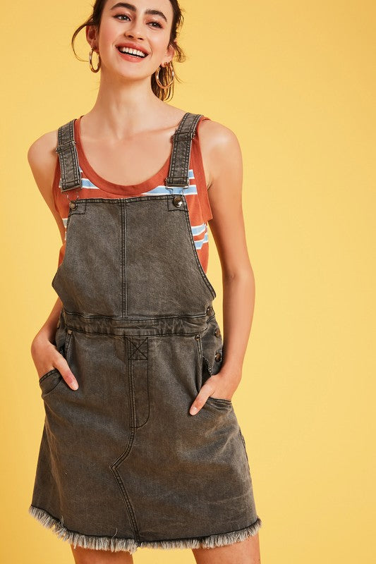 Distressed Wash Denim Overall Dress with Pockets