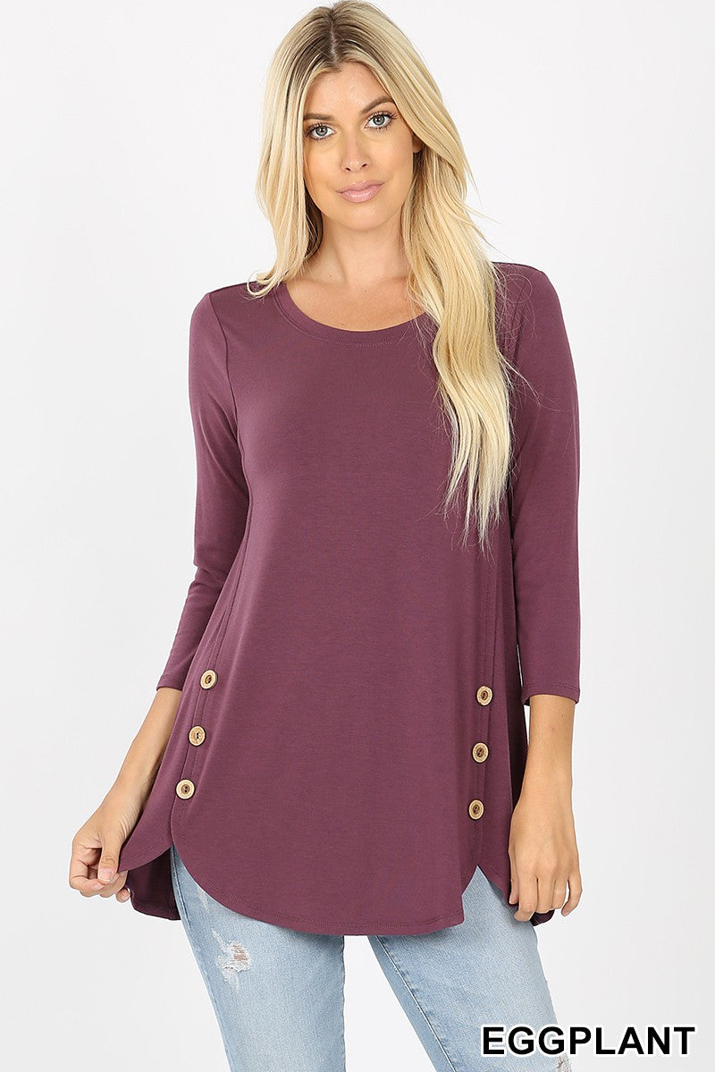 Round Neck High Low Tunic