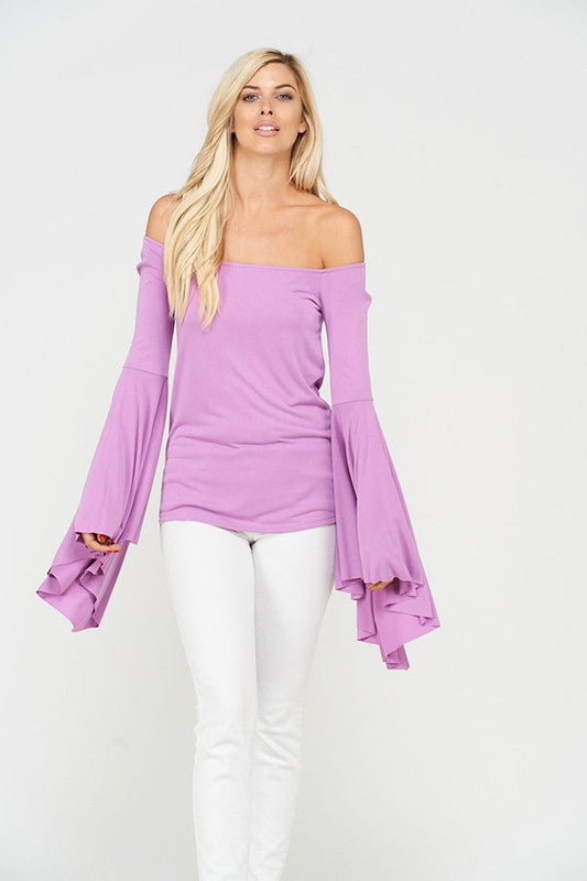 Wide Bell Sleeve Off Shoulder Top