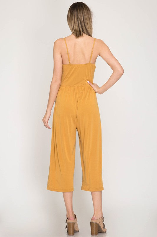 Sleeveless Midi Culotte Jumpsuit