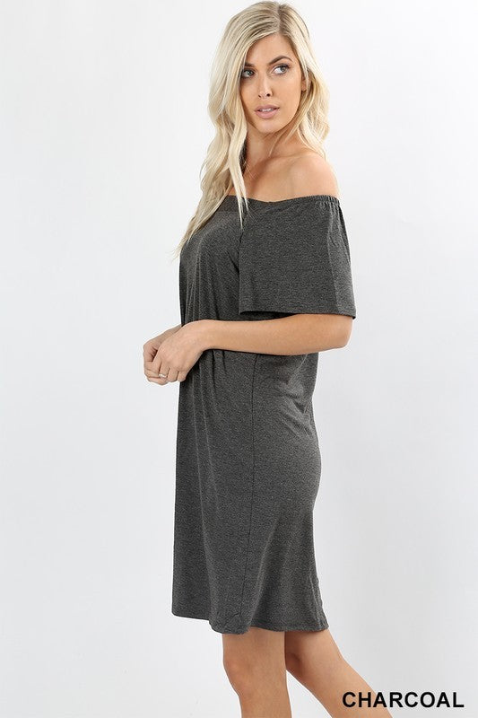 Off Shoulder Cotton Shift Dress