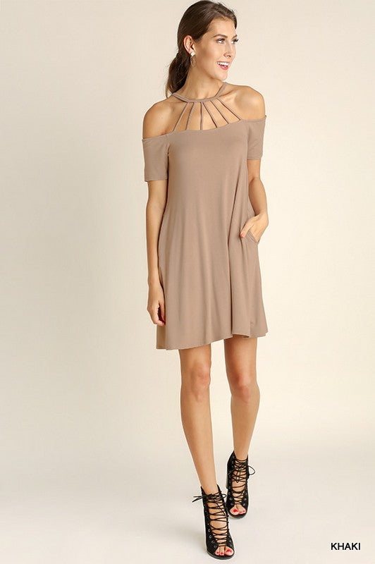 Crew Neckline Dress with Strap Front Detail