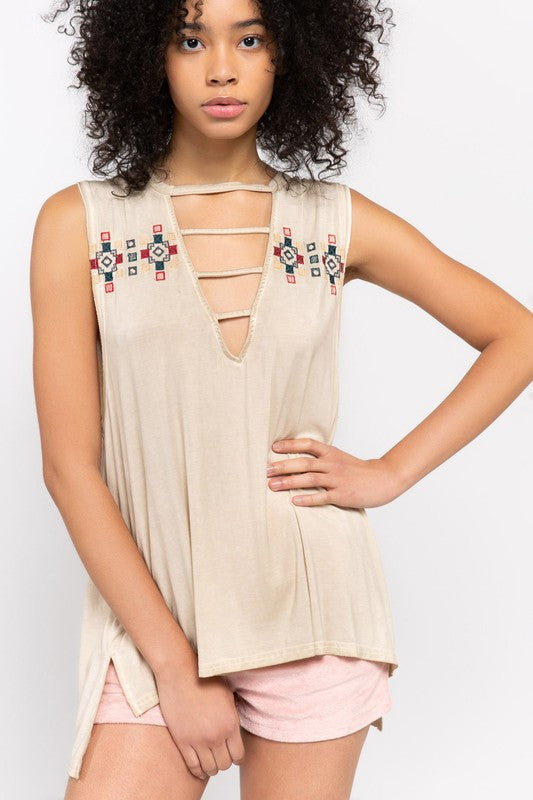 Tribal Embroidered Strappy Plunge Neck Top