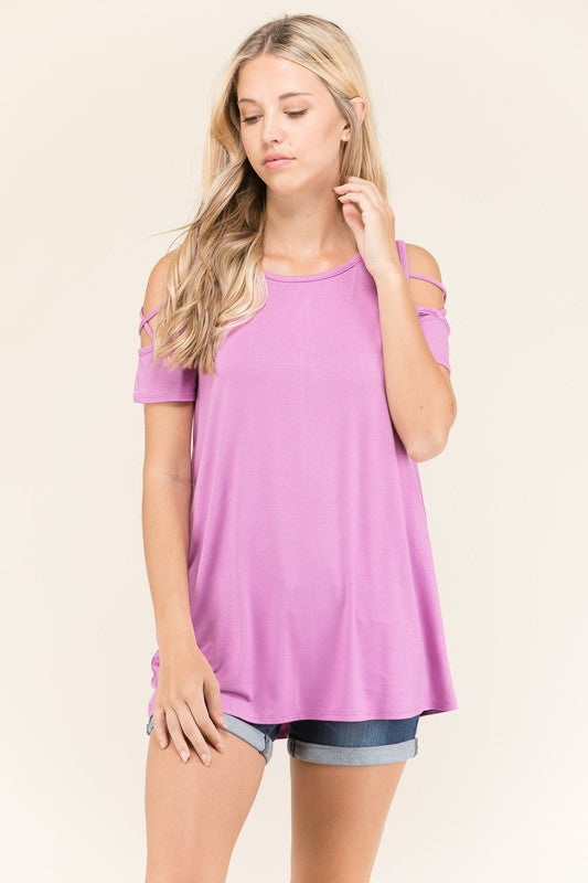 fccfd80489a412 Short Sleeve Open Shoulder Top with Crisscross Sleeves – Lulu B
