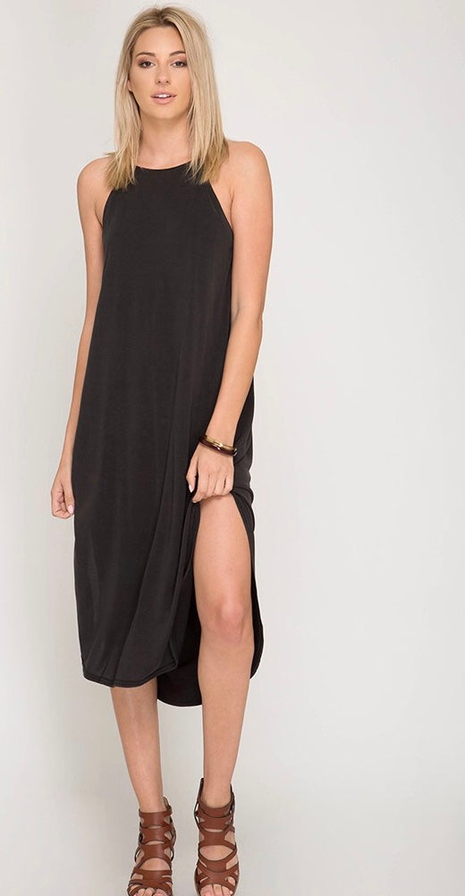Sleeveless Side Slit Midi Dress