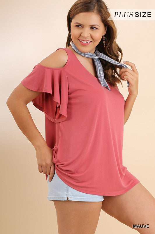 Cold Shoulder Top w/ Flutter Sleeve - Plus