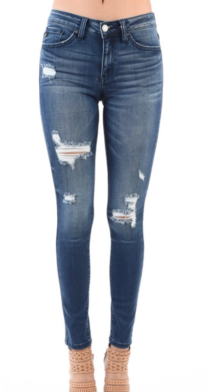 Dark Wash Skinny Jeans Distressed