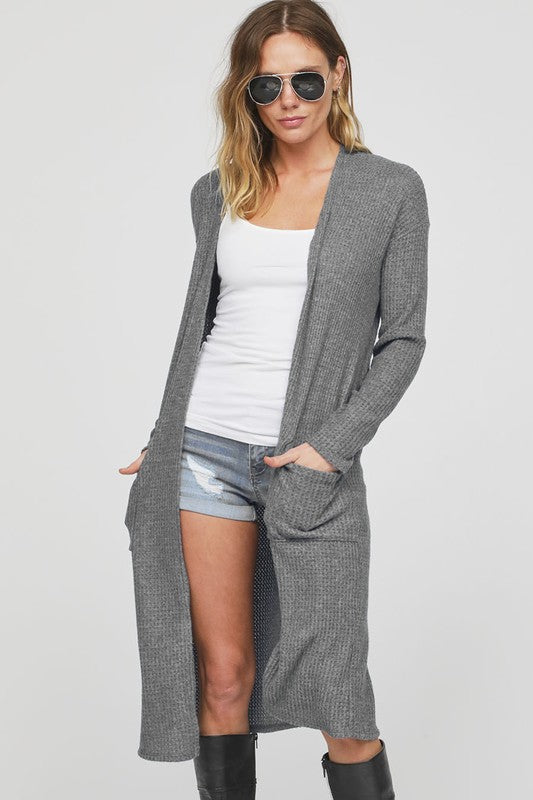 Thermal Knee Length Cardigan/Duster with Side Pockets