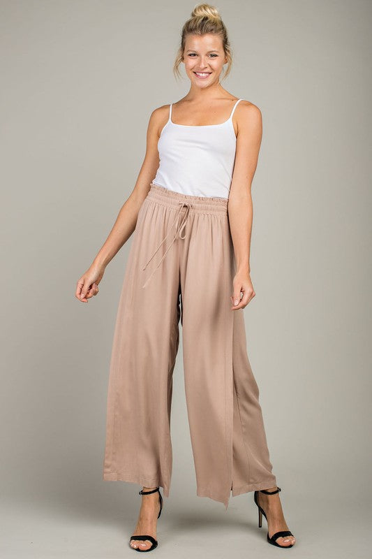 High Waisted Wide Leg Drawstring Pants with Side Slits