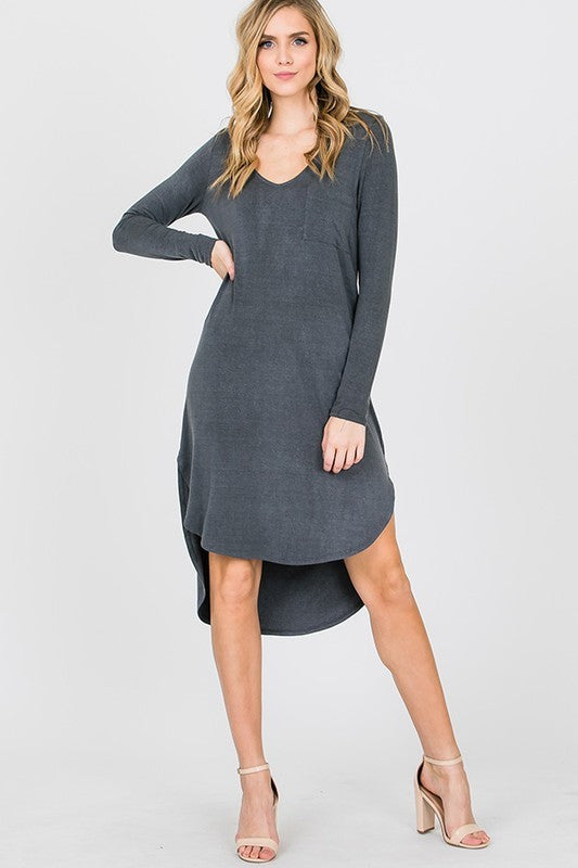 Long Sleeve V-Neck High Low Dress with Chest Pocket