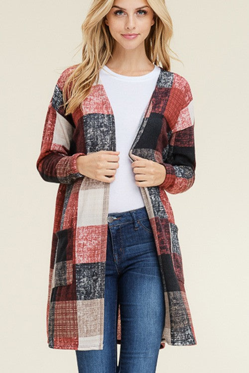 Long Sleeve Plaid Print Cardigan with Pockets
