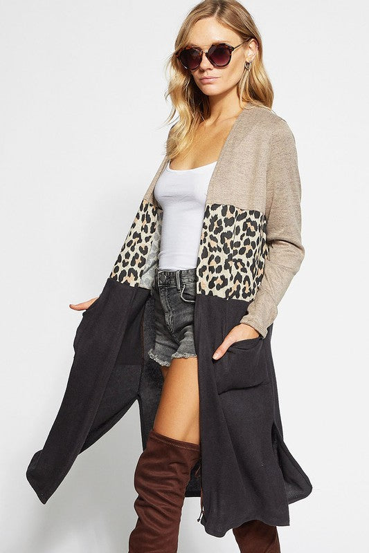 Block Cardigan with Leopard Mid Panel and Pockets