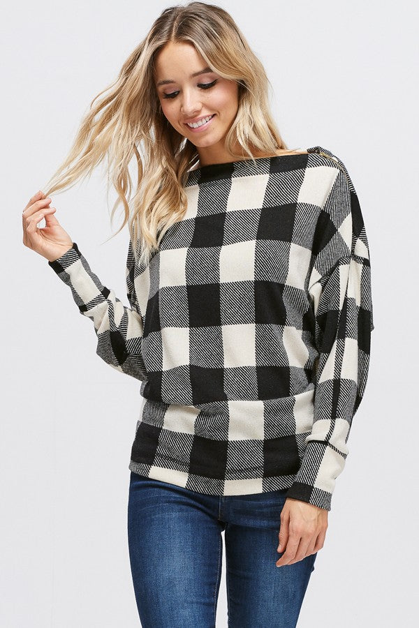Plaid Boat Neck Knit Sweater