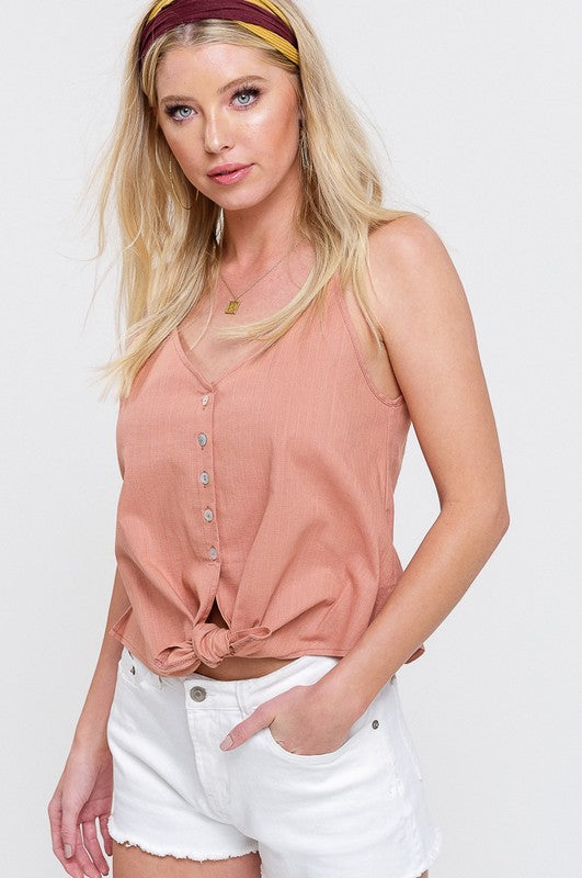 Stretch Linen Button Down Self Tie Sleeveless Top