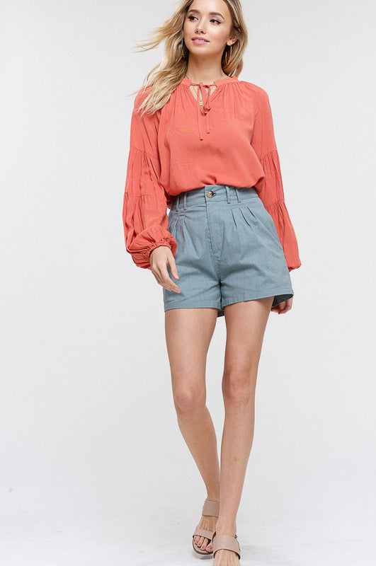 Linen Textured Pleated Shorts with Pockets