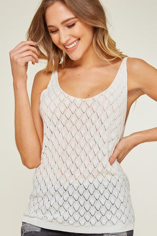 4c1200789a224f Open Knit Tank Top.  30.25. Short Sleeve Open Shoulder Top with Crisscross  Sleeves