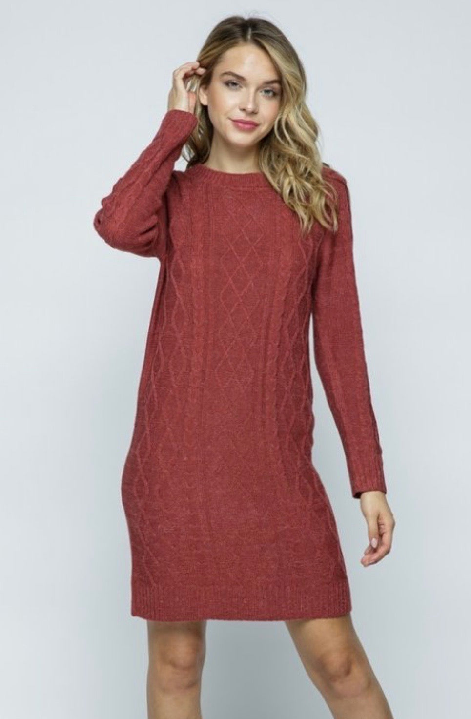 Chunky Cable Knit Sweater Dress
