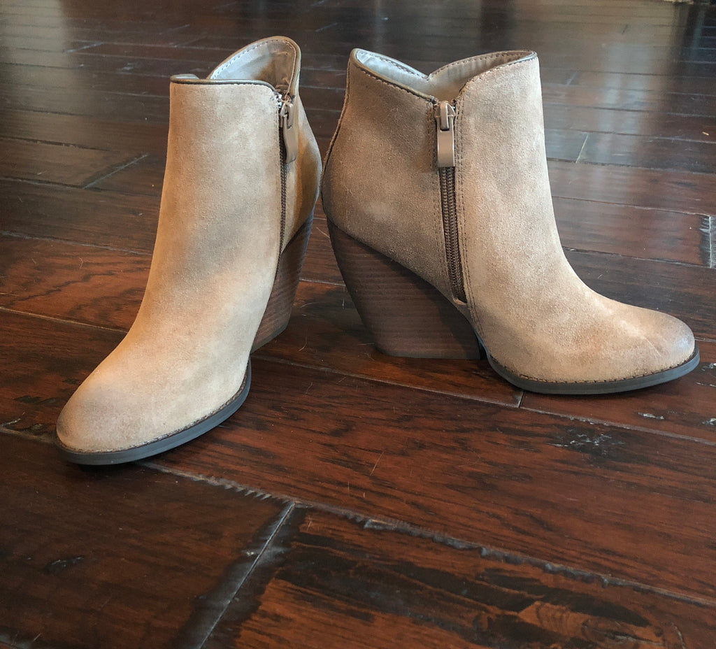Suede Bootie with Stacked Heel