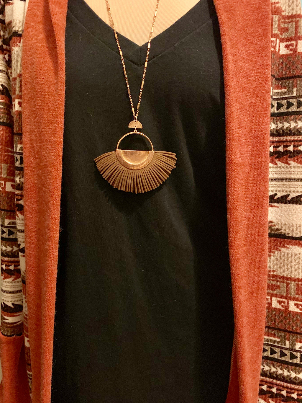Leather Fan Necklace on Long Gold Chain