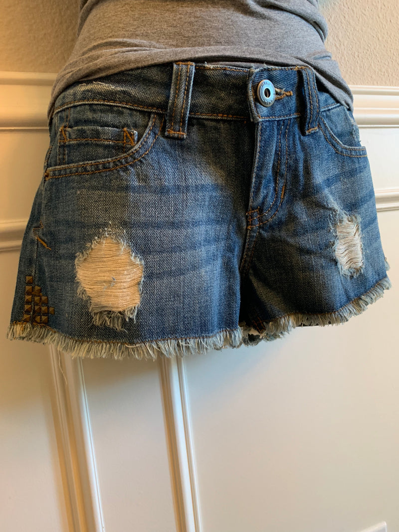 Distressed Cutoff Jean Shorts with Stud Detail