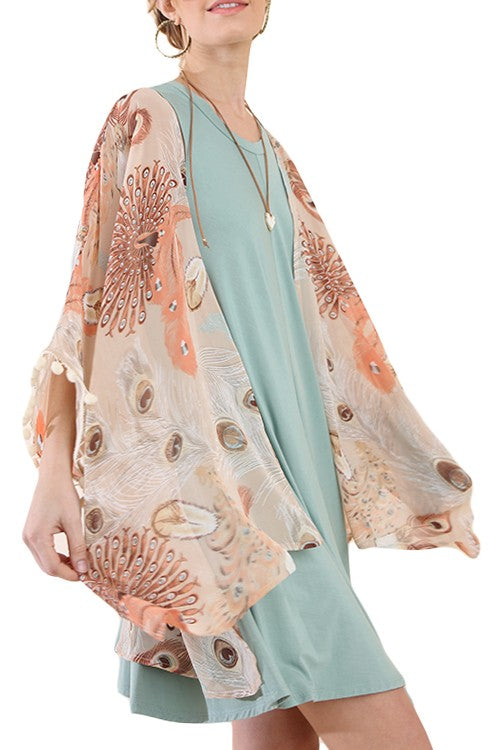 Peacock Print Open Front Kimono with Pom Pom Tassels