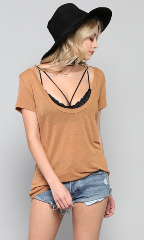 Deep U Neck Short Sleeve Top