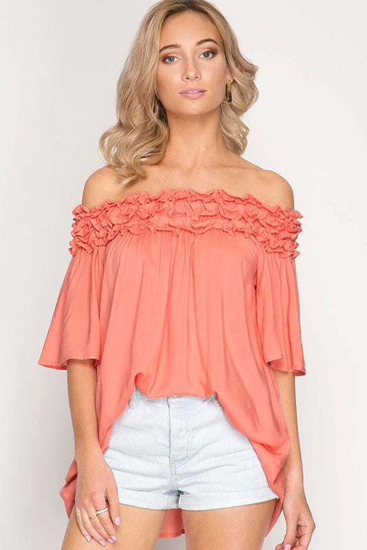 Ruffle Detail Off Shoulder Tunic Top