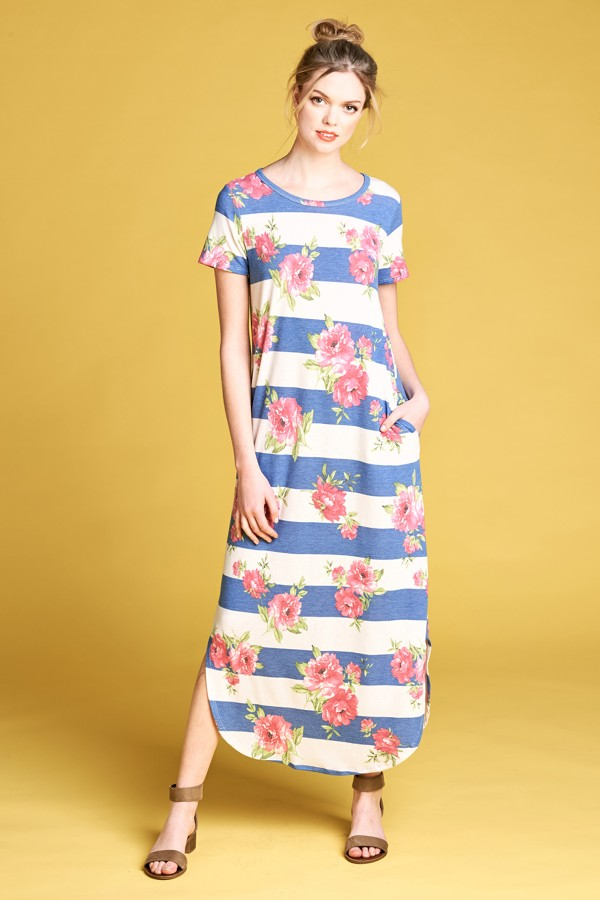 Short Sleeve Knit Striped Floral Maxi Dress