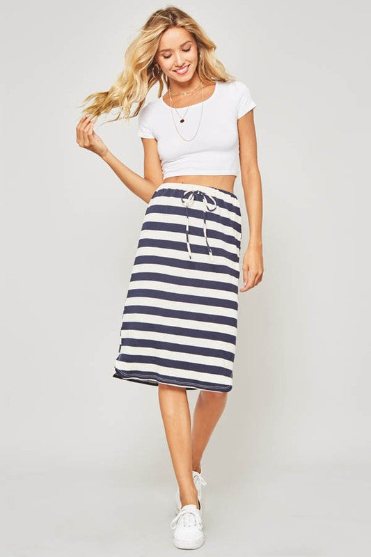 Cotton Striped Skirt