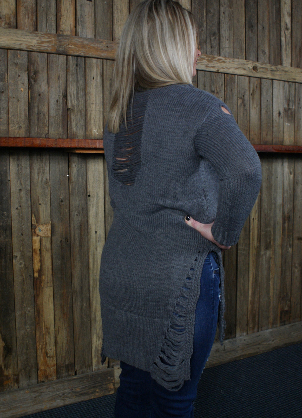 Distressed Charcoal Tunic/Sweater