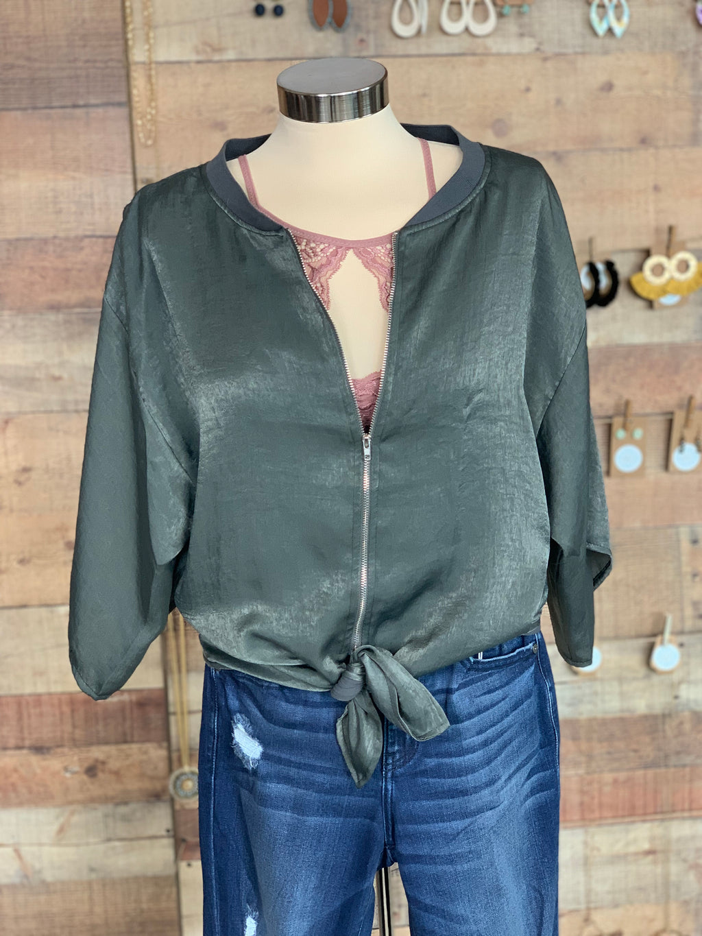 High Low Tie Front Top with Zipper