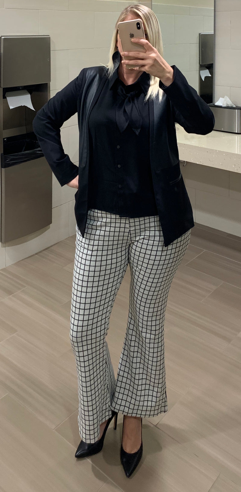 High Waisted Checkered Flare Leg Pants
