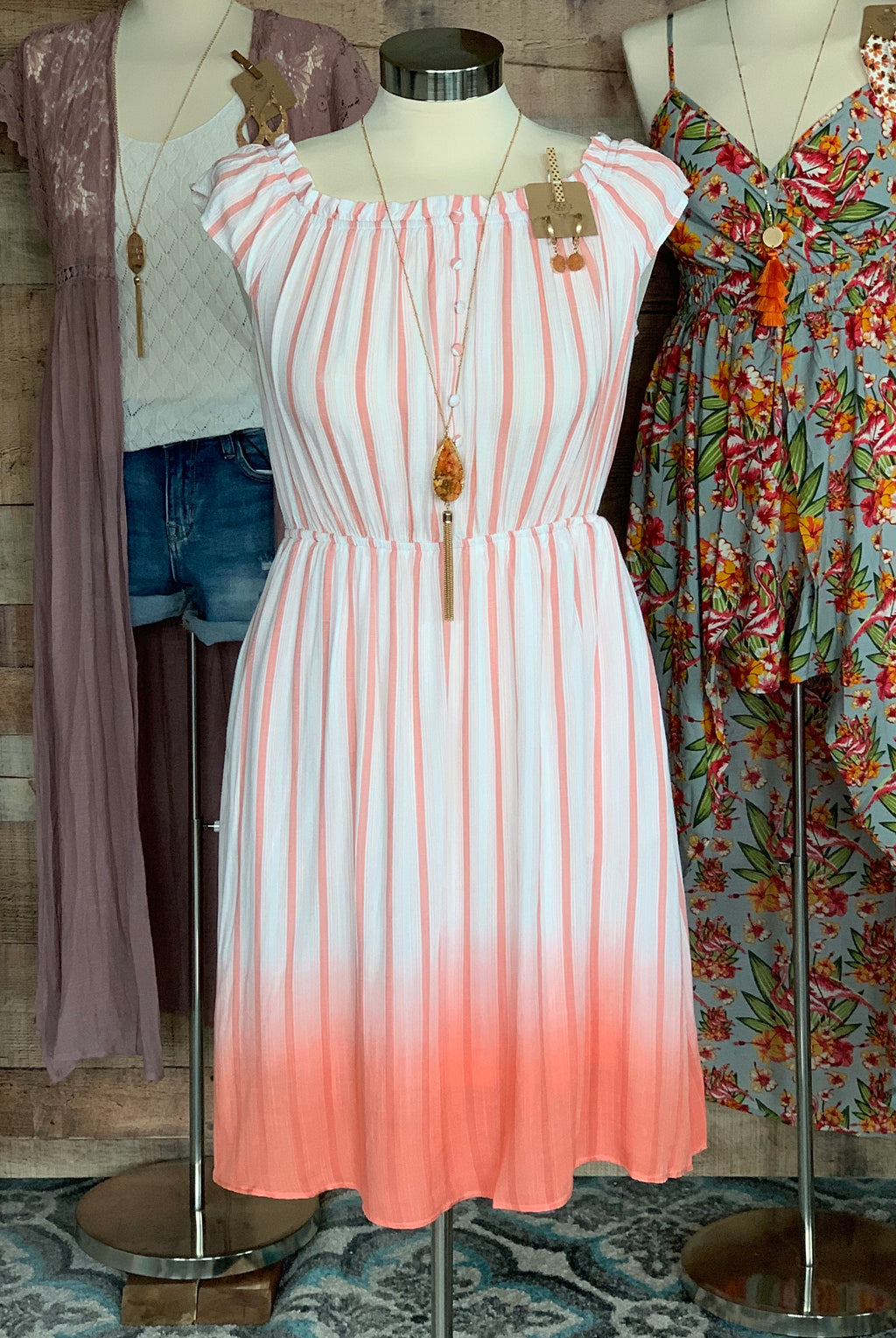 Off Shoulder Striped Dip Dye Midi Dress