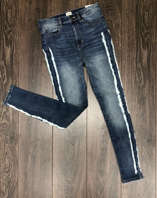 High Rise Side Frayed Skinny Jeans