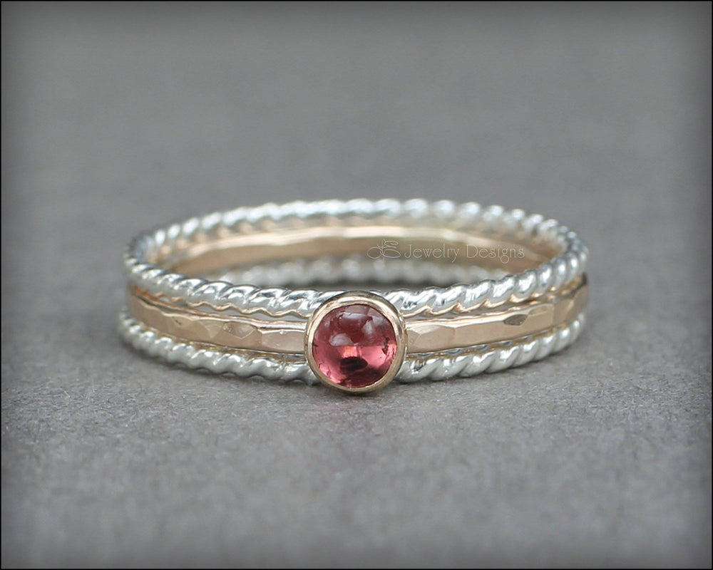 Gemstone Ring Set - (with 1 stone)