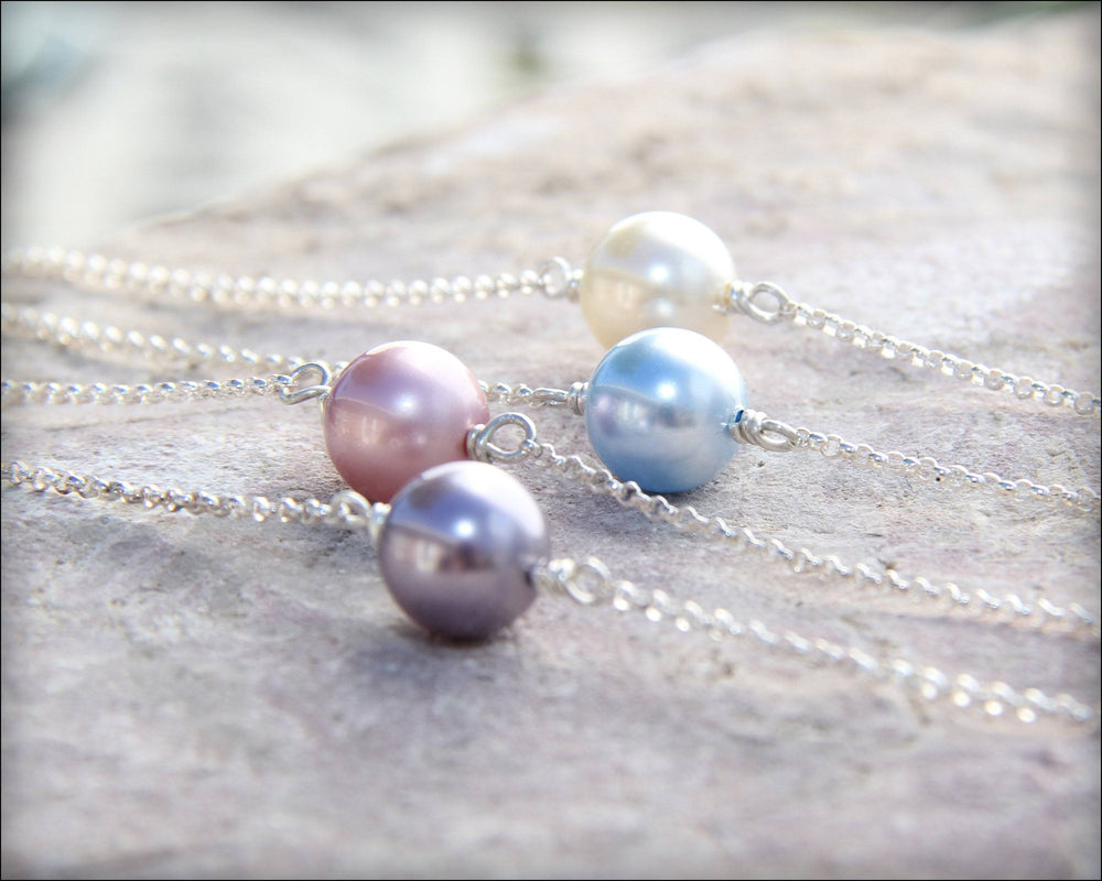 Single Pearl Necklace - (choose your color)