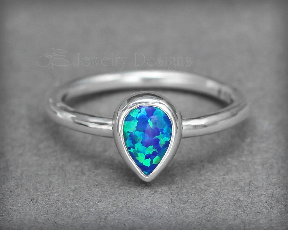 Teardrop (pear-shaped) Opal Ring - LE Jewelry Designs