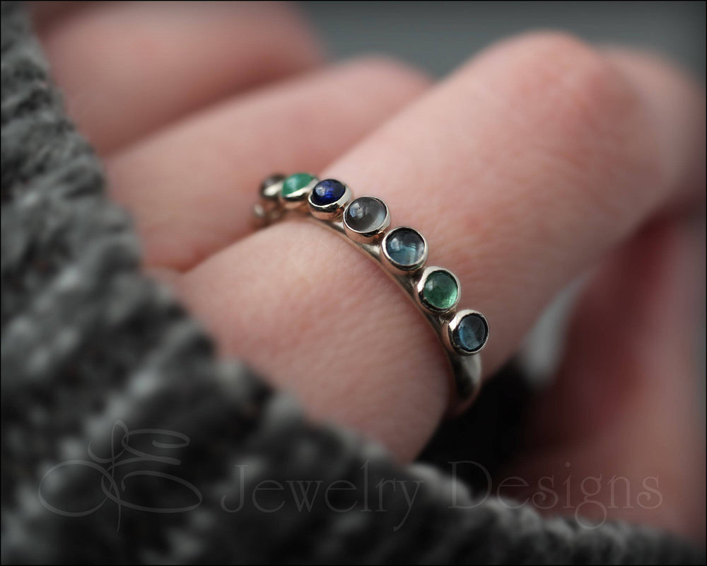 14k White Gold Multi Gemstone Ring - (choose # of stones)