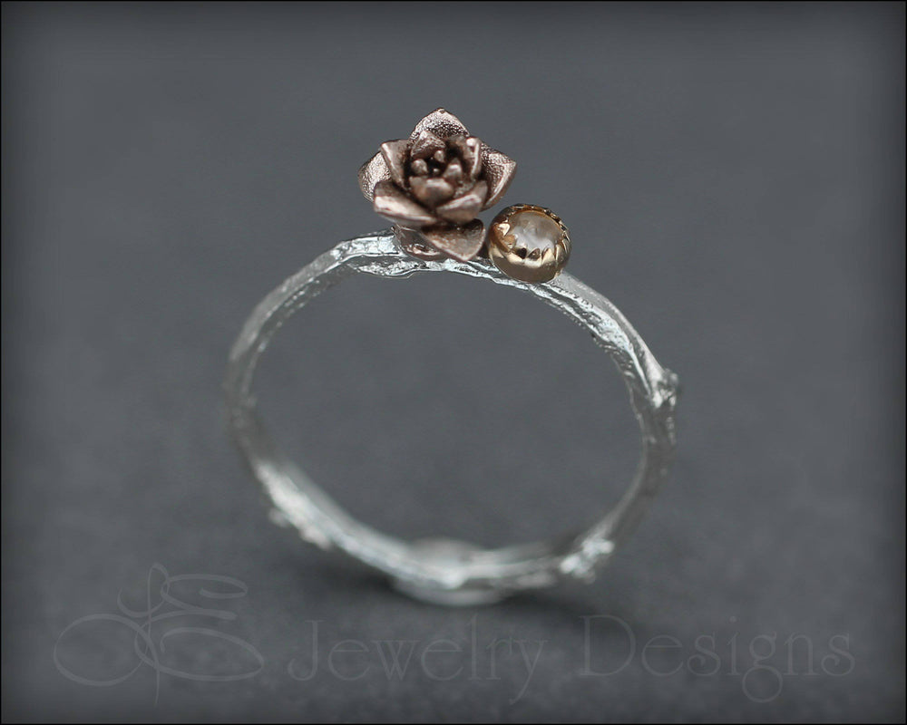 14k Rose Succulent Twig Ring - size 6.5