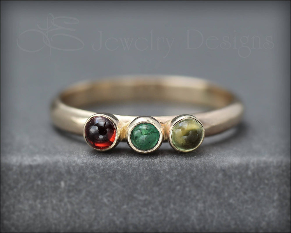 14k Gold Multi Gemstone Ring - (choose # of stones)