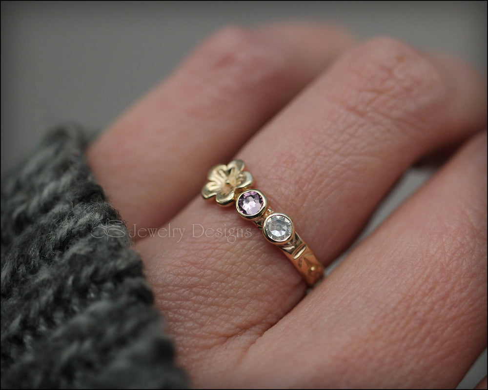 14k Gold Birthstone Flower Ring - LE Jewelry Designs