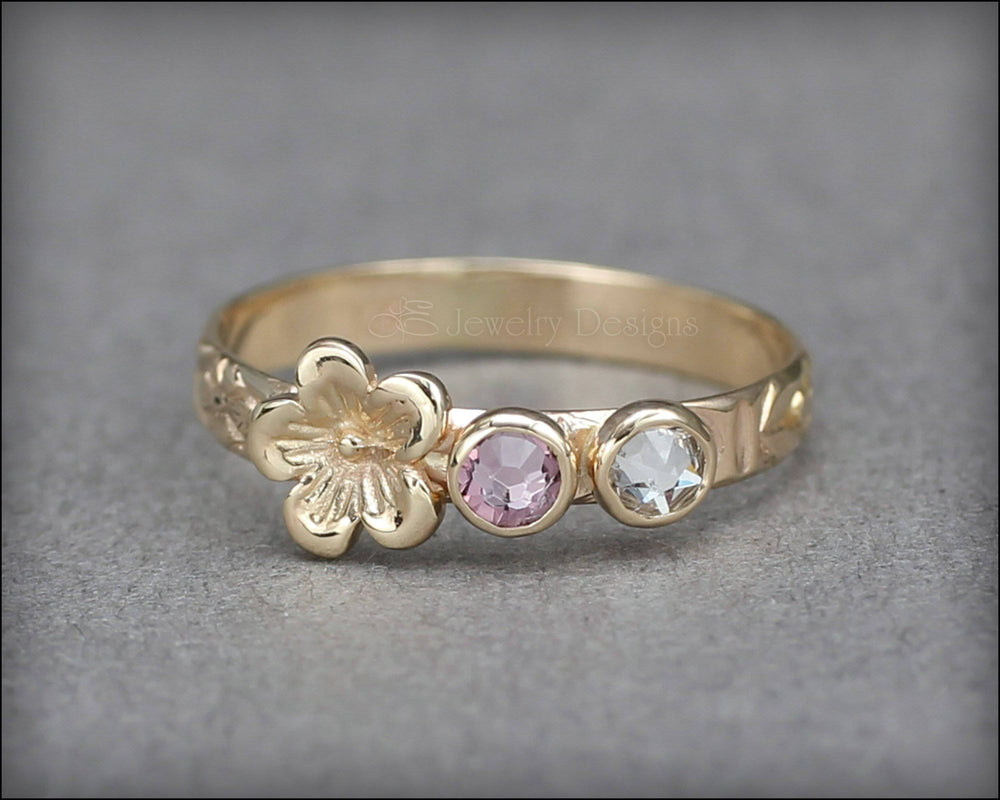 14k Gold Birthstone Flower Ring