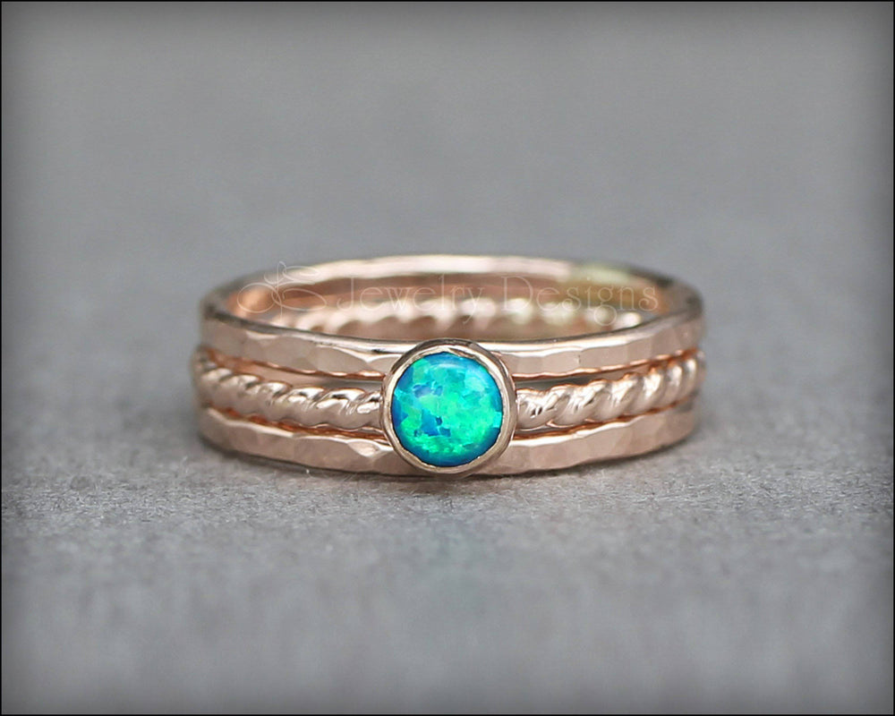 Opal Ring Set - (with 1 opal) - LE Jewelry Designs