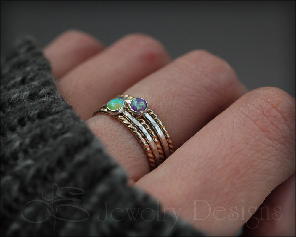 5-Ring Opal Ring Set - (with 2 opals)