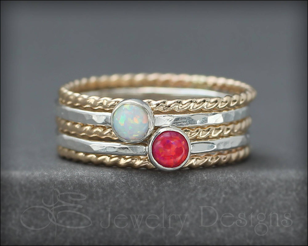5-Ring Opal Ring Set - (with 2 opals) - LE Jewelry Designs