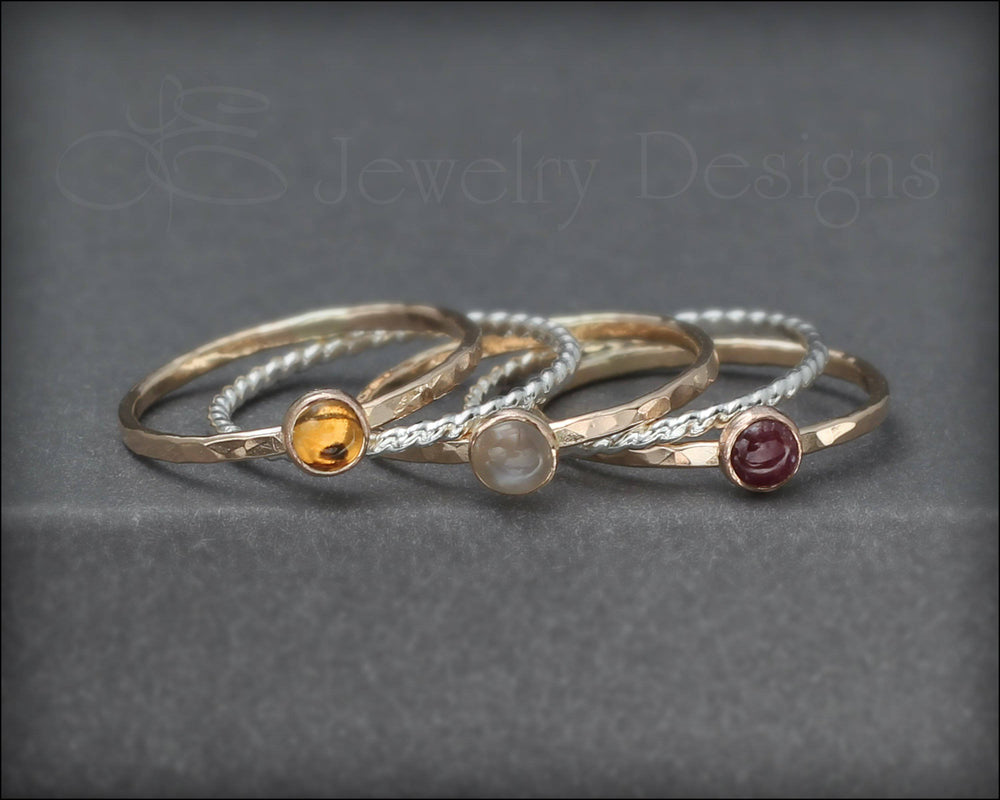 Gemstone Ring Set - (with 3 stones) - LE Jewelry Designs