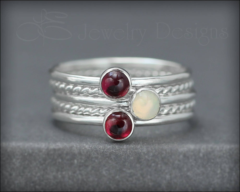 Gemstone Ring Set - (with 3 stones)